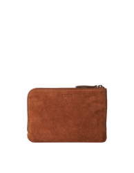 Lola Wild Oak Soft Grain Leather. Small Rectangular crossbody clutch bag for women with two zipper compartments. Back product image.