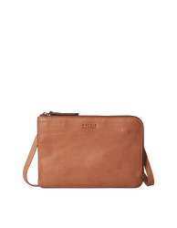 Lola Wild Oak Soft Grain Leather. Small Rectangular crossbody clutch bag for women with two zipper compartments. Front product image.