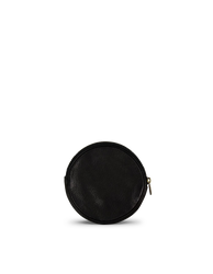 Luna Purse Black Soft Grain Leather. Circular coin purse, wallet for men and women. Back product image.