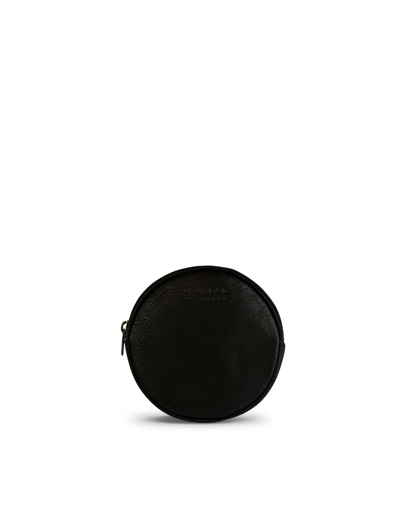Luna Purse Black Soft Grain Leather. Circular coin purse, wallet for men and women. Front product image.