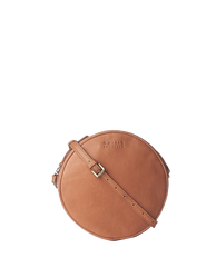 Luna Bag Wild Oak Soft Grain Leather. Circular crossbody bag for women. Front product image.