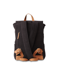 Mau Backpack Black Canvas and Leather. Large travel bag for men and women.  Back product image.