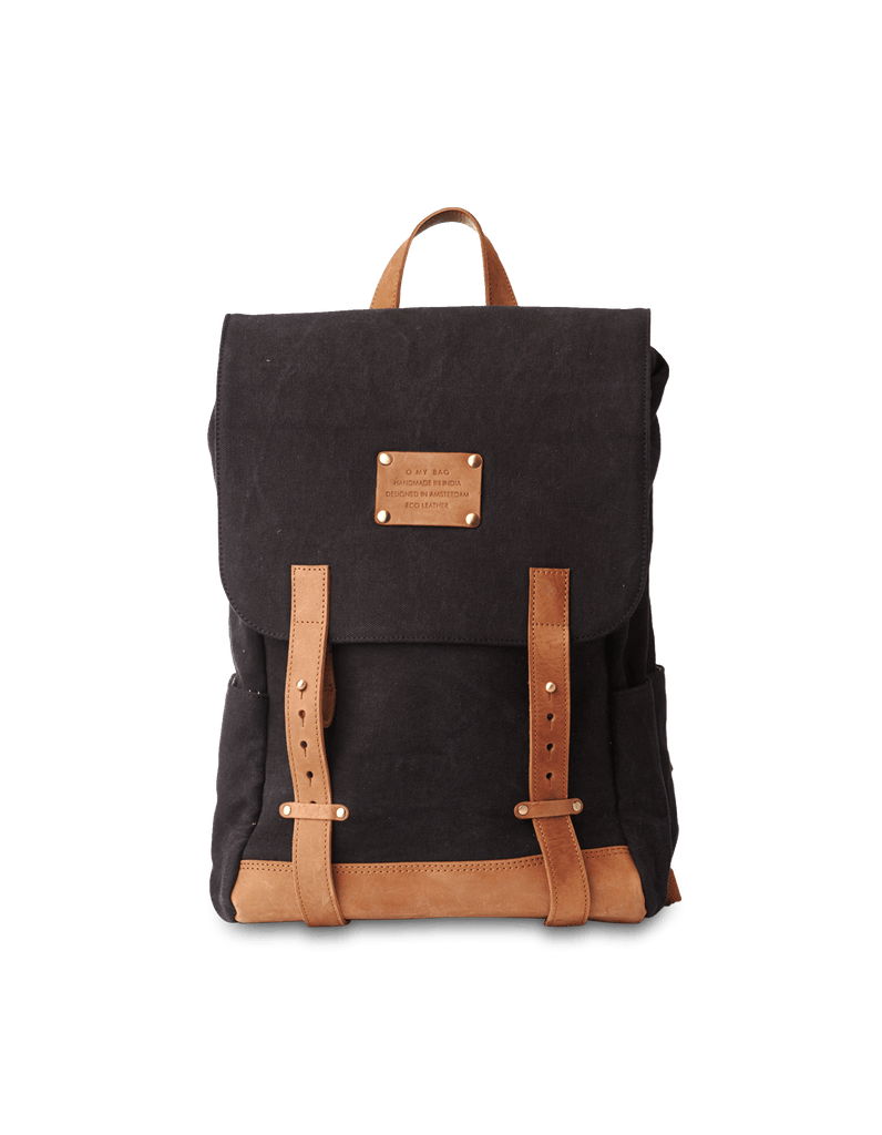 Mau Backpack Black Canvas and Leather. Large travel bag for men and women.  Front product image.