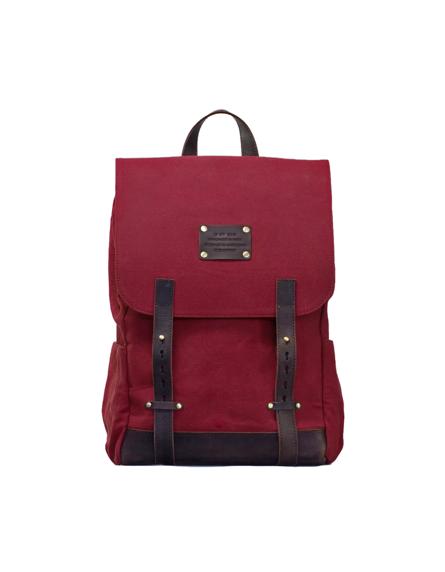 Recommended: Mau's Backpack - Burgundy & Dark Brown Canvas Hunter Leather
