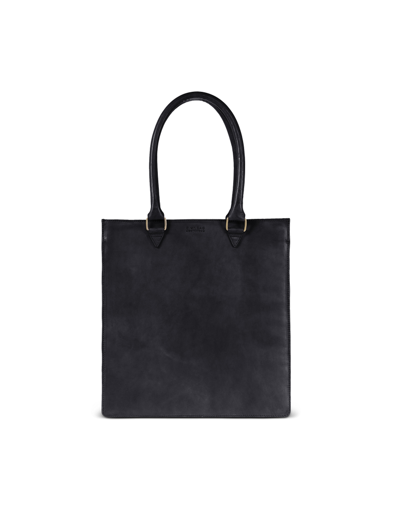 Mila Long Handle Black Classic Leather. Large rectangular shopper for women. Front product image.