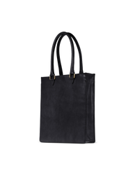 Mila Long Handle Black Classic Leather. Large rectangular shopper for women. Side product image.