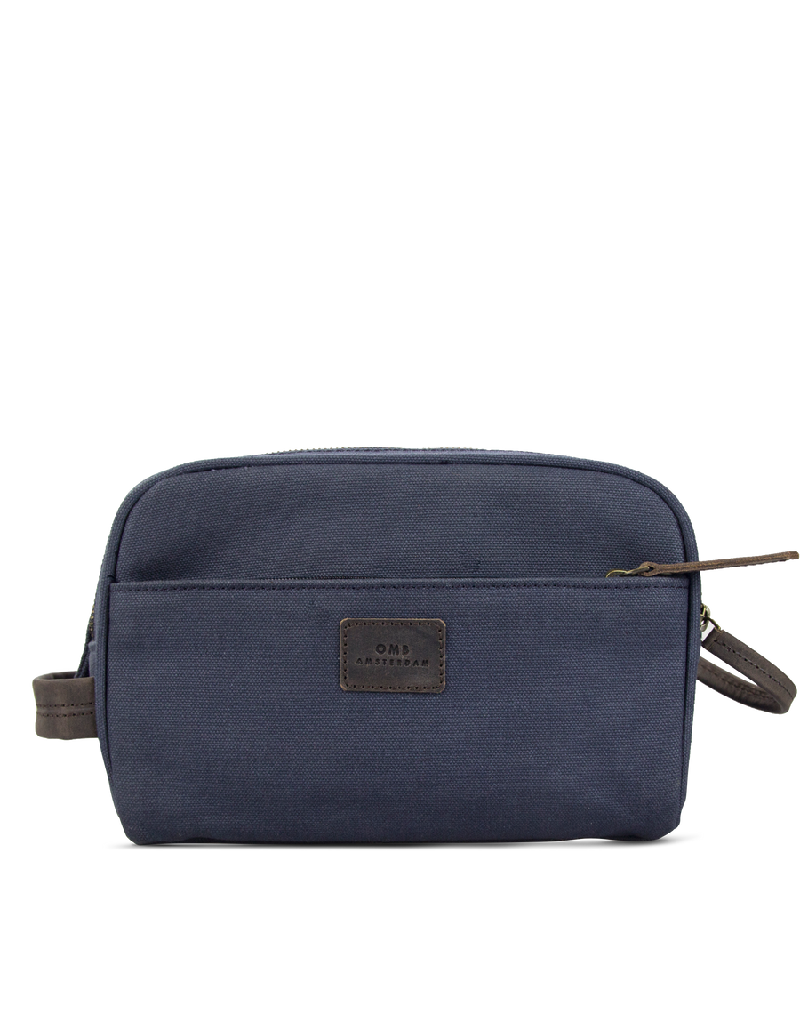 Recommended: Oliver's Washbag - Navy & Dark Brown Canvas Hunter Leather