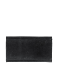 Pixie Pouch Black Hunter Leather. Rectangular shaped fold over wallet. Back product image.
