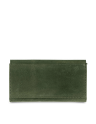 Pixie Pouch Green Hunter Leather. Rectangular shaped fold over wallet. Back model image.