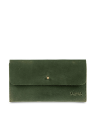 Pixie Pouch Green Hunter Leather. Rectangular shaped fold over wallet. Front model image.