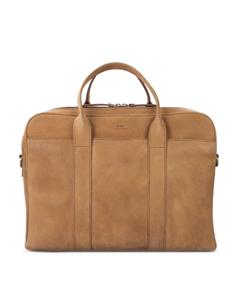 Camel Leather business bag. Front product image.