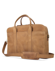Camel Leather business bag. Side product image.
