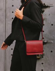 Ruby Leather womens handbag. Square shape with an adjustable strap. Lifestyle product image