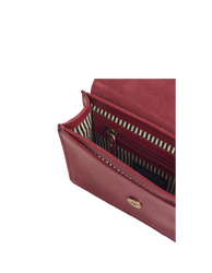 Ruby Leather womens handbag. Square shape with an adjustable strap. Inside product image