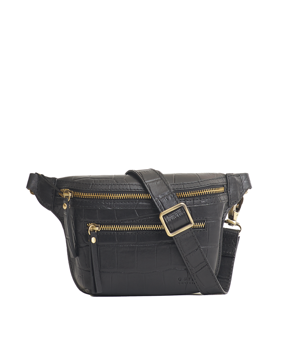 Recommended: Beck's Bum Bag - Black Classic Croco Leather