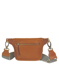 Cognac Leather womens fanny pack. Square shape with an adjustable strap. Back product image