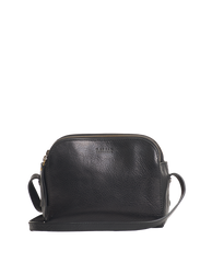 Black Leather womens handbag. Square shape with an adjustable strap. Front product image.