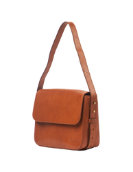 Cognac Leather womens handbag. Square shape with an adjustable strap. Side product image.