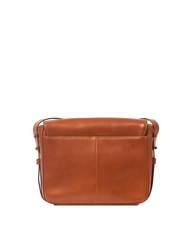 Cognac Leather womens handbag. Square shape with an adjustable strap. Back product image.