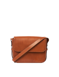 Cognac Leather womens handbag. Square shape with an adjustable strap. Front product image.
