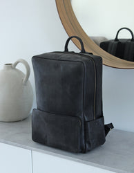 Black Leather backpack. Lifestyle product image.