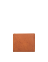 Cognac Leather fold over wallet. Square shape. Back product image.