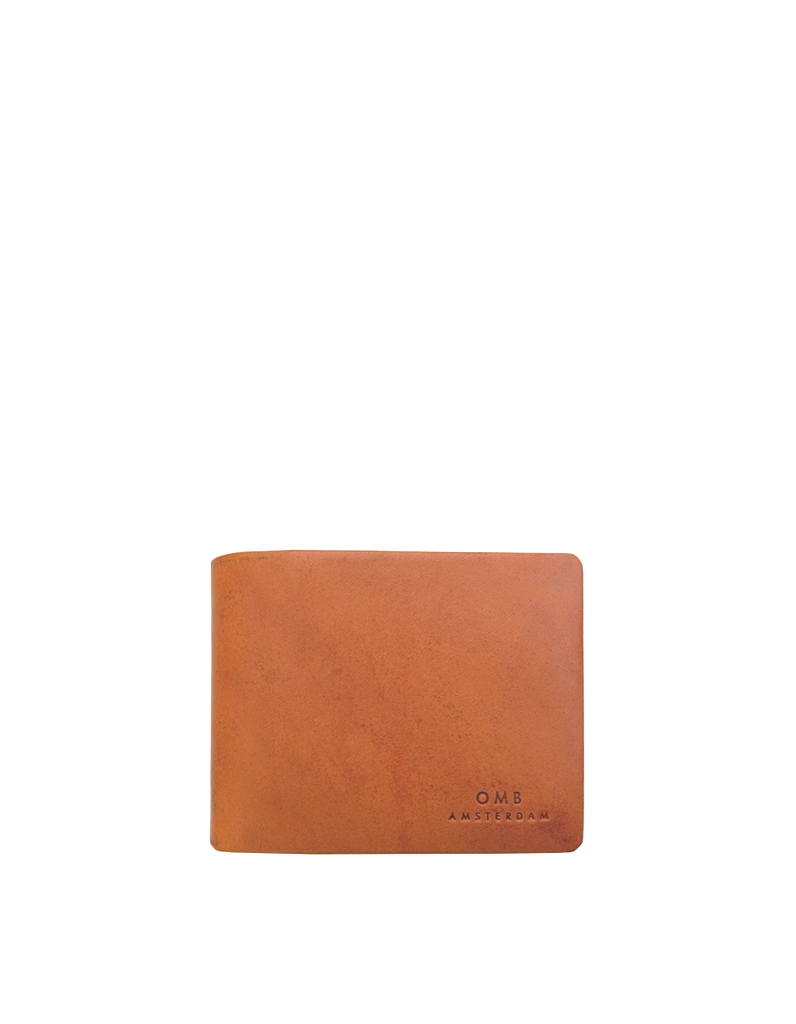 Cognac Leather fold over wallet. Square shape. Front product image.