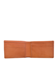 Cognac Leather fold over wallet. Square shape. Inside product image.