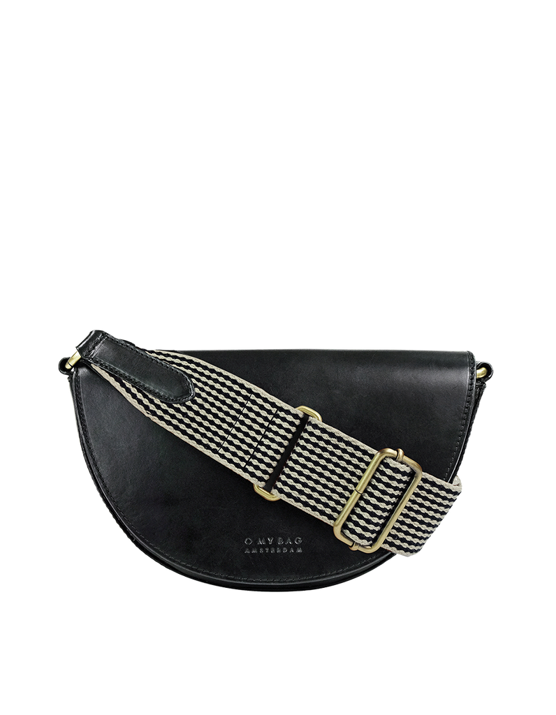 Laura Bag Black Classic Leather. Round mood shape crossbody bag. Front product image.