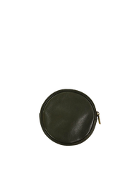 Luna Purse Green Soft Grain Leather. Circular coin purse, wallet for men and women. Back product image.
