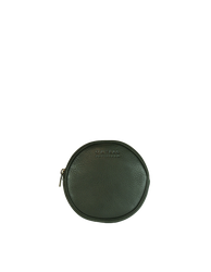 Luna Purse Green Soft Grain Leather. Circular coin purse, wallet for men and women. Front product image.