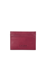 Marks Cardcase Ruby Classic Leather. Square leather wallet, card case for bank cards.  Front product image.