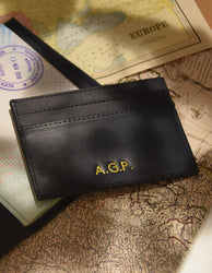 Marks Cardcase Black Classic Leather. Square leather wallet, card case for bank cards.  Embossed  image.