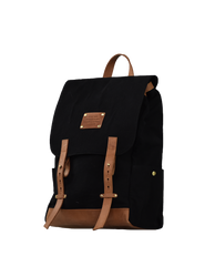 Mau Backpack Black Canvas and Leather. Large travel bag for men and women.  Side product image.