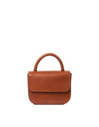 Nano Bag Cognac Classic Leather. Small clutch handbag, party bag. Front product image.