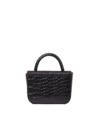 Nano Bag Black Classic Croco Leather. Small clutch handbag, party bag. Back product image.
