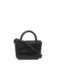 Nano Bag Black Classic Croco Leather. Small clutch handbag, party bag. Front product image.
