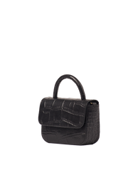 Nano Bag Black Classic Croco Leather. Small clutch handbag, party bag. Side product image.