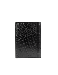 Notebook Black Croco Classic Leather. Medium sized notepad cover. Back product image.