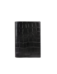 Notebook Black Croco Classic Leather. Medium sized notepad cover. Front product image.