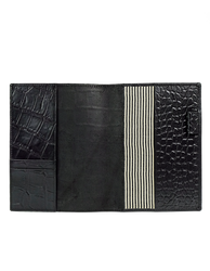 Notebook Black Croco Classic Leather. Medium sized notepad cover. Inside product image.