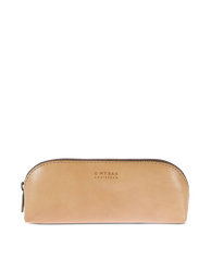 Large Pencil Case Natural Classic Leather. Zipper Leather pencil case. Front product image.