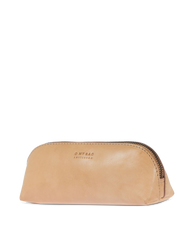 Large Pencil Case Natural Classic Leather. Zipper Leather pencil case. Side product image.
