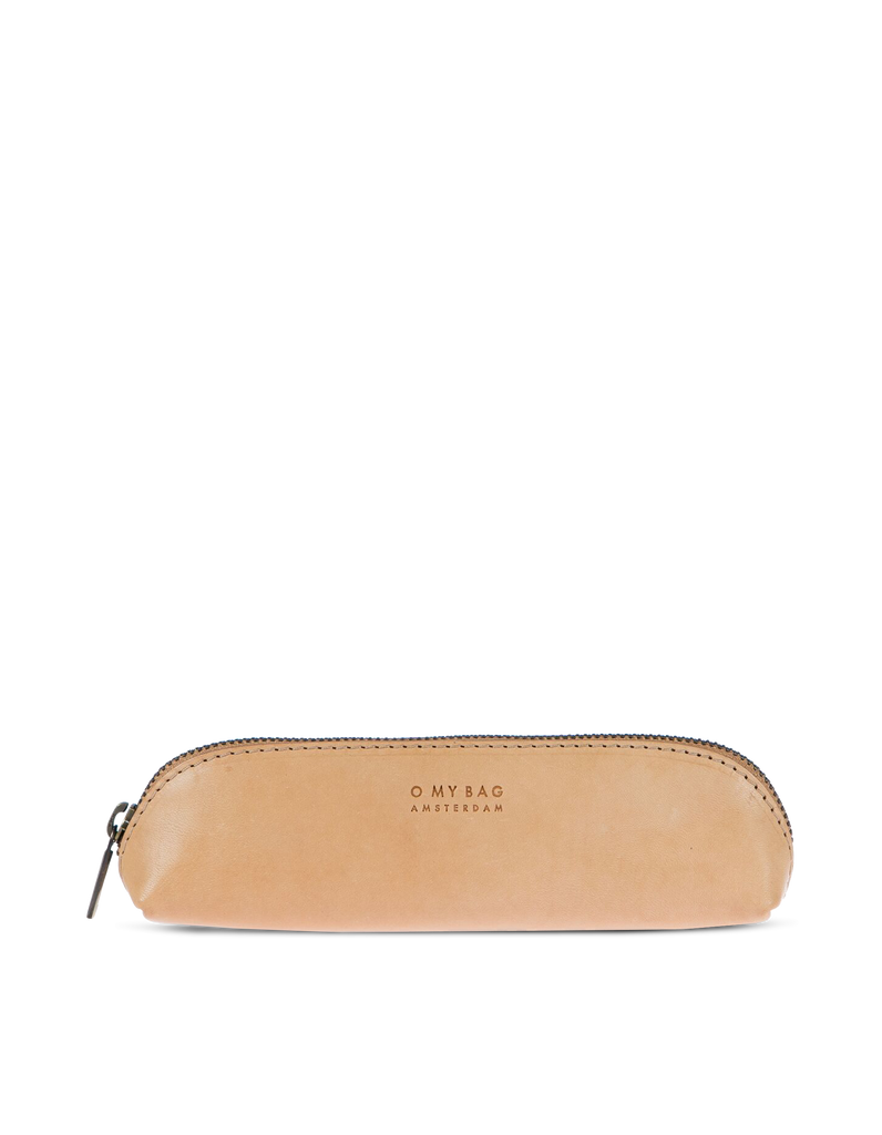 Small Pencil Case Natural Classic Leather. Zipper Leather pencil case. Front product image.