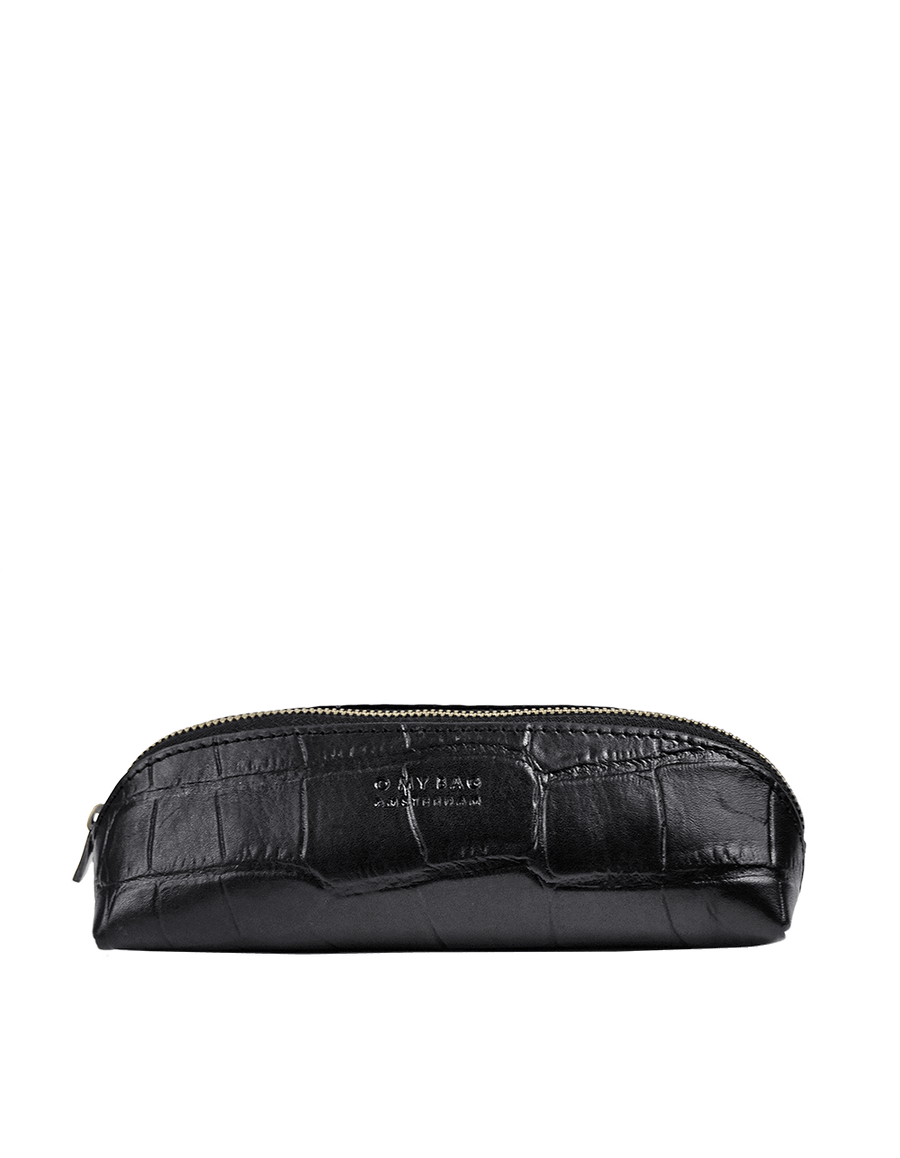 Recommended: Pencil Case Small - Black Classic Croco Leather