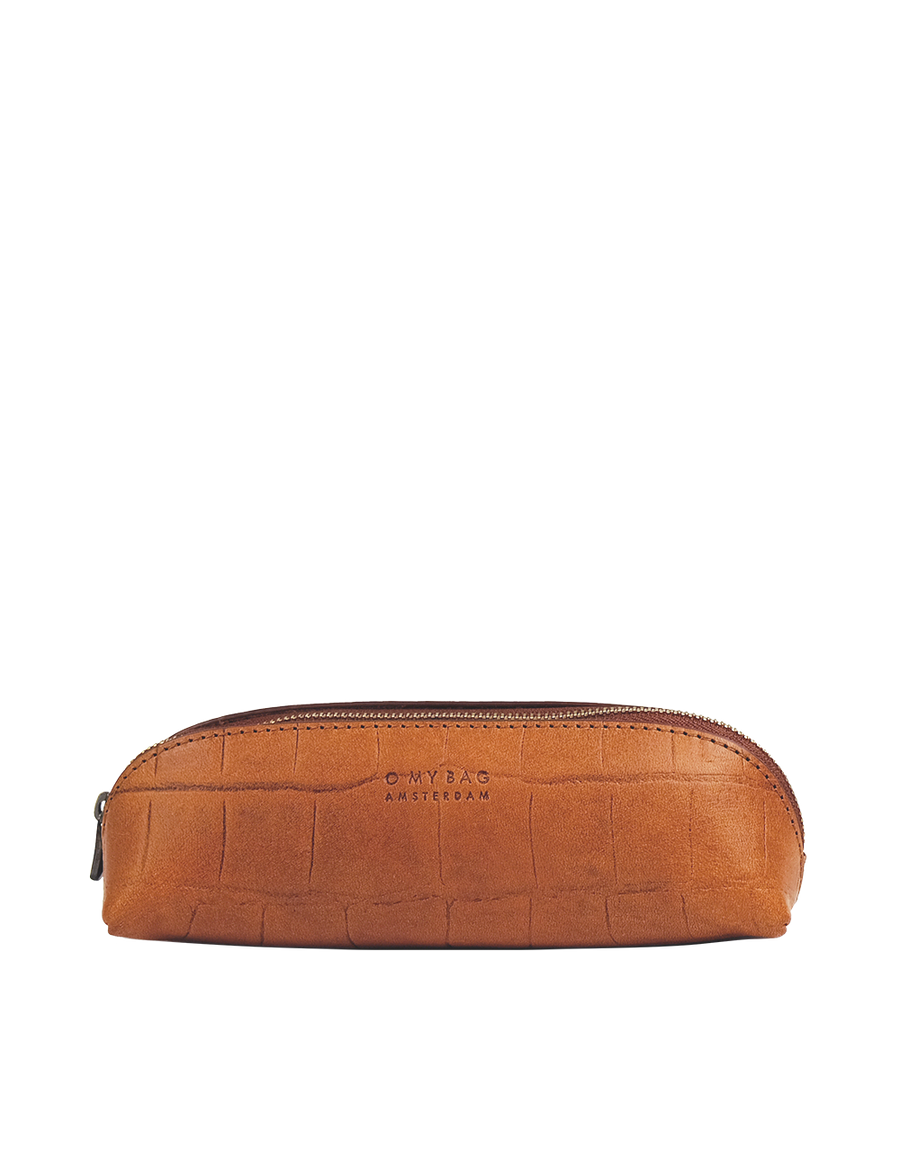 Recommended: Pencil Case Small - Cognac Classic Croco Leather