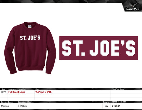 "Gildan YOUTH Crew Neck Sweatshirt - Maroon - ""St. Joe's"""