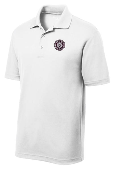 Polo: MENS' Sport-Tek PosiCharge RacerMesh Polo -WHITE -(FINAL SALE - NO RETURNS)