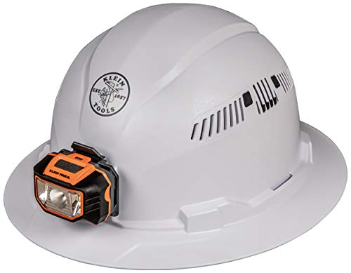 Klein Tools - Full Brim Style Hard Hat with Headlamp (White)