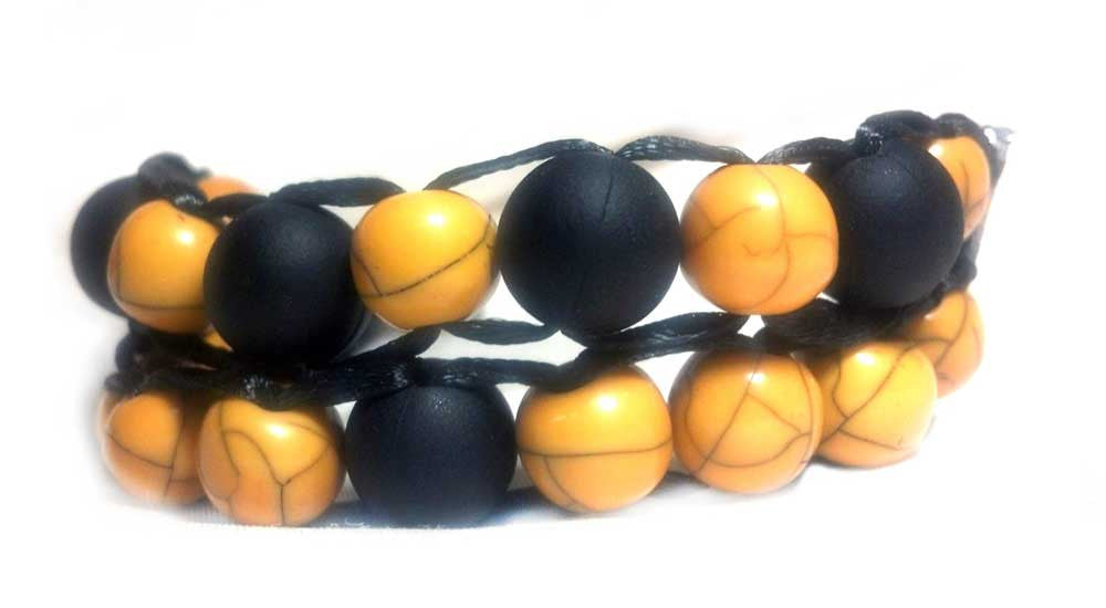 Ablet Knitting Abacus Row Counter Bracelet, 2-tier, (Black and Yellow)